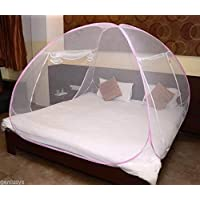 Cratos Ct Mosquito Net Foldable King Size (Double Bed) White Color With Pink/Blue Border