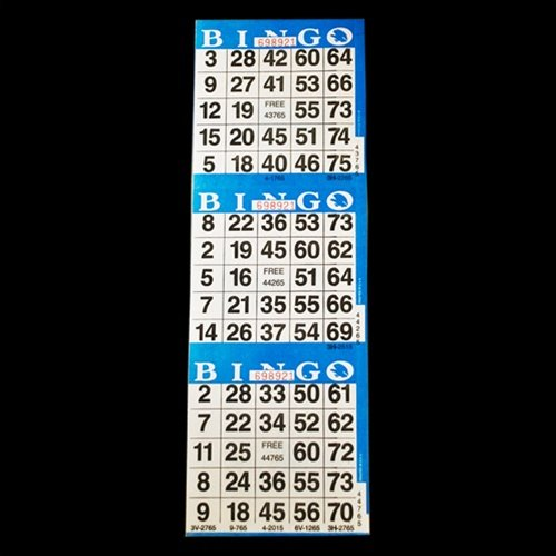 3 on Blue Bingo Paper Cards - 1000 cards American Games INC