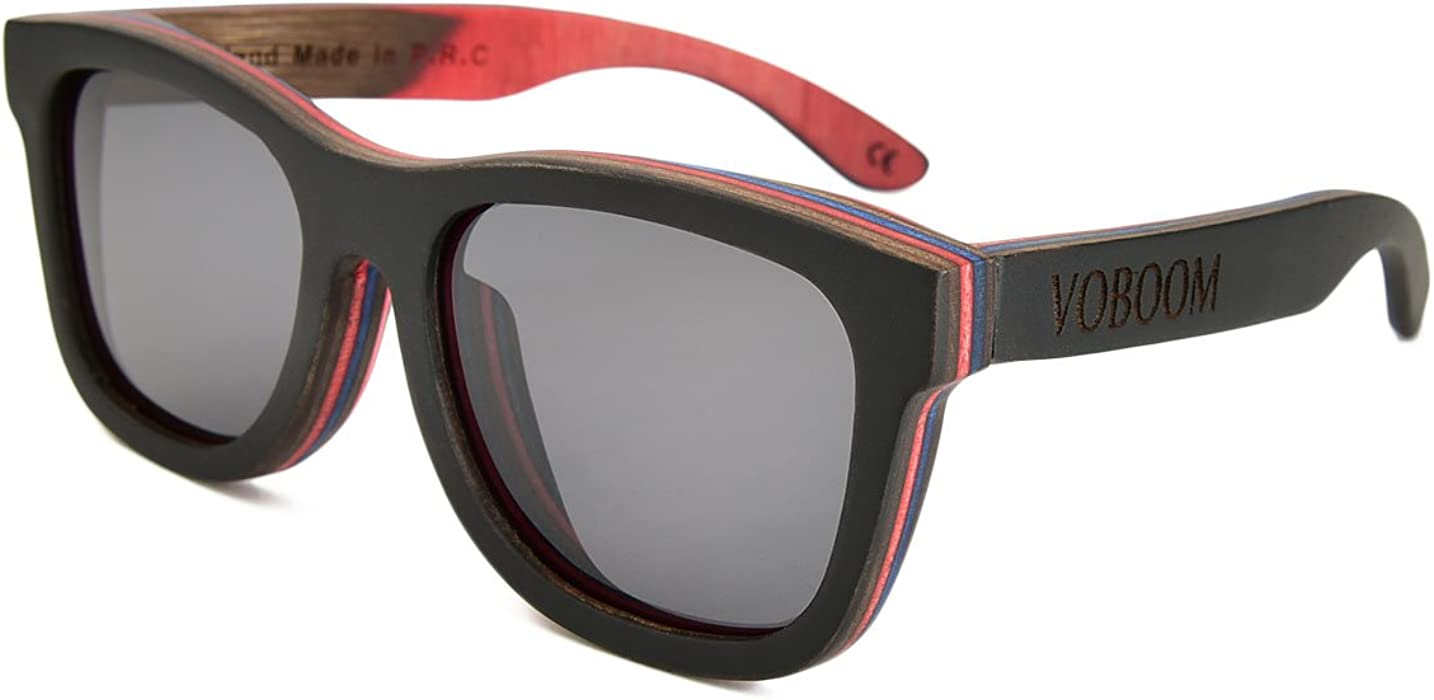 ea7555560b VOBOOM® Hand-Made Black Skateboard Wood Sunglasses For Mens Womens with  Polarized Lens G-S001-HH