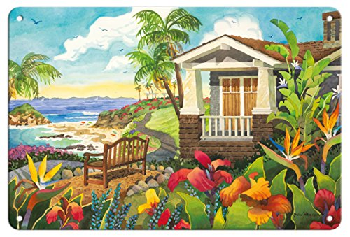 (Pacifica Island Art 8in x 12in Vintage Tin Sign - The Montage - Laguna Beach California - Seaside Bench Ocean View by Robin Wethe Altman )