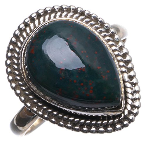StarGems(tm) Natural Blood Stone Handmade Mexican 925 Sterling Silver Ring, US size 8 T6281 (Tm Italian Ladies Stone)