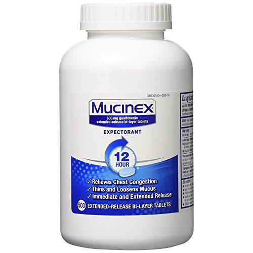 Chest Congestion, Mucinex 12 Hour Extended Release Tablets, 500ct, 600 mg Guaifenesin with extended relief of  chest congestion caused by excess mucus, thins and loosens mucus