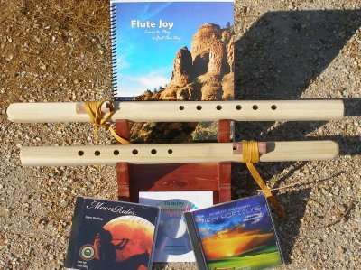2 Unfinished G & F# 6 hole Windpony flutes with book & 3 CDs Starter Set - Books and CDs
