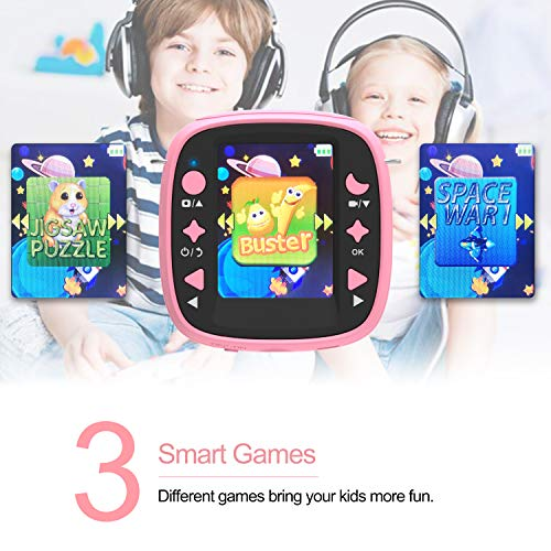 AKAMATE Kids Action Camera Waterproof Video Digital Children Cam 1080P HD Sports Camera Camcorder for Boys Girls, Build-in 3 Games, 32GB SD Card (Pink) by AKAMATE (Image #3)