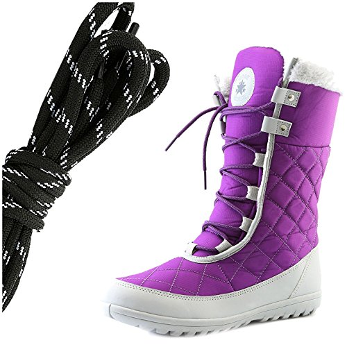 DailyShoes Womens Comfort Round Toe Mid Calf Flat Ankle High Eskimo Winter Fur Snow Boots, Black White Purple