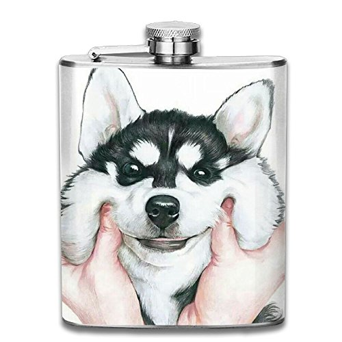 (CZZD Pinch The Cute Siberian Husky's Face Dog Portable Stainless Steel Flagon Whiskey Wine Bottle)
