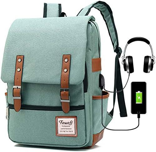 Vintage Laptop Backpack for Women, 15.6inch USB College School Bookbag – Green