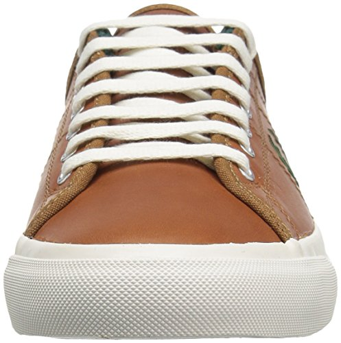 Fred Perry Men's Kendrick Tipped Cuff Waxed Leather Fashion Sneaker, Tan/Dark Chocolate, 9 UK/10 D US