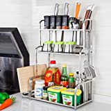 Hyun times 304 Stainless Steel Shelves Kitchen Storage Rack Knife Rack Spice Rack 3 Floor Floor Seasoning Rack