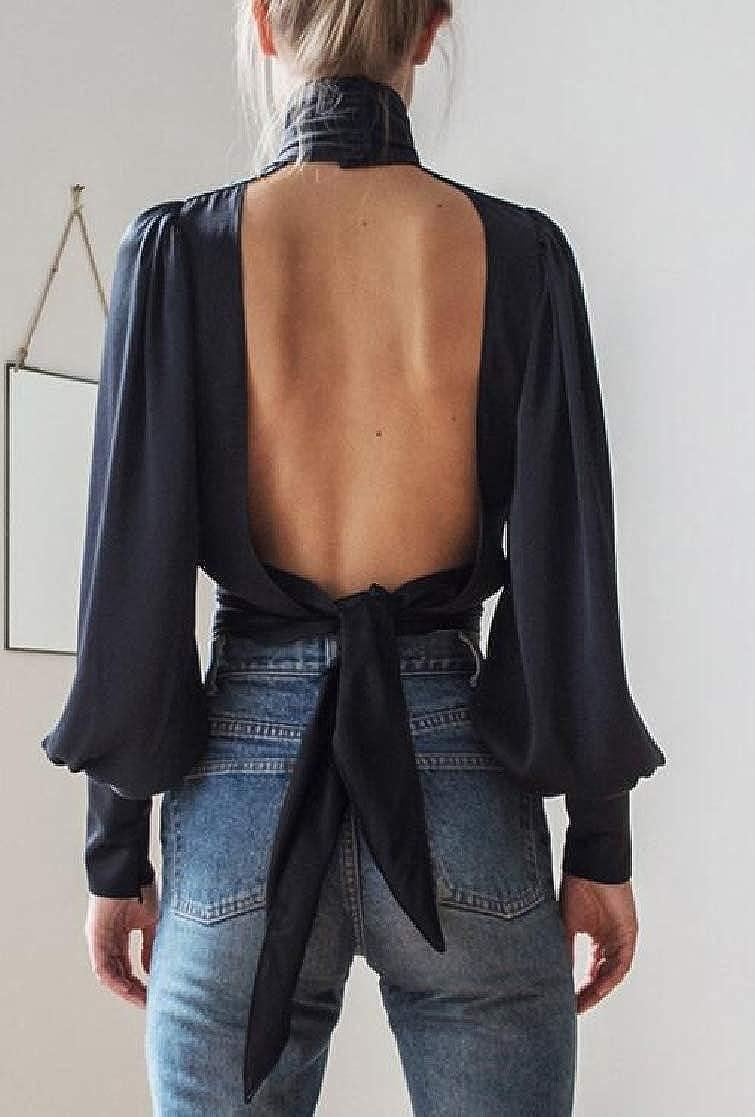 Joe Wenko Women Open Back Fashion High Collar Hollow Puff Sleeve T-Shirt Top