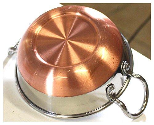 3 Piece Stainless Steel Copper Bottom Wok Set Woks