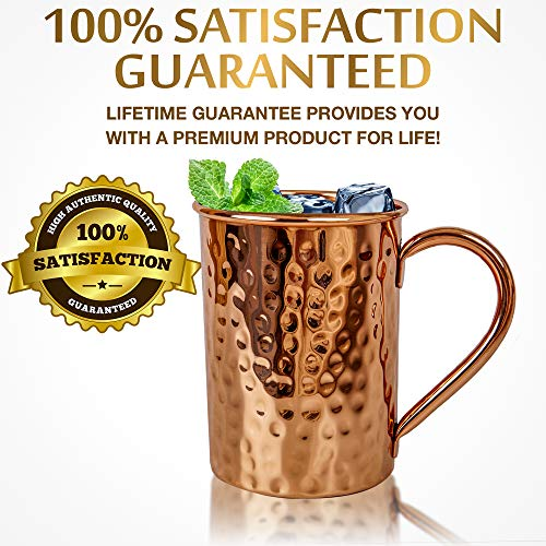 Moscow Mule Copper Mugs Set :4 16 oz. Solid Genuine Copper Mugs : Cylindrical Shape : Handmade in India, 4 Straws, 4 Wood Coasters, Shot Glass : Comes in Elegant Gift Box, by Yooreka by Yooreka (Image #3)