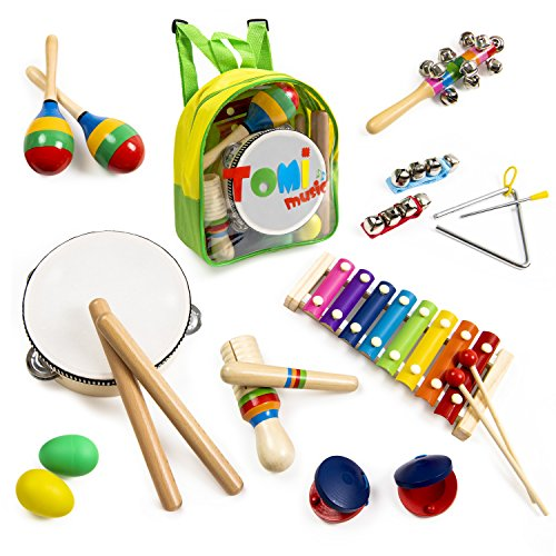 17 Pieces Toddler Wooden Musical Toys with Backpack INNOCHEER Kids Musical Instruments ASTM Certified