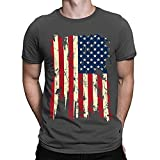 Gergeos Men's American Flag Print T-Shirt Summer Fashion Casual O-Collar Short Sleeve Shirts - Independence Day Gray