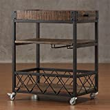 YAONIEO Kitchen Bar Cart Retro Rolling Service Cart Trolley Utility Cart With Wine Rack-3 Tires