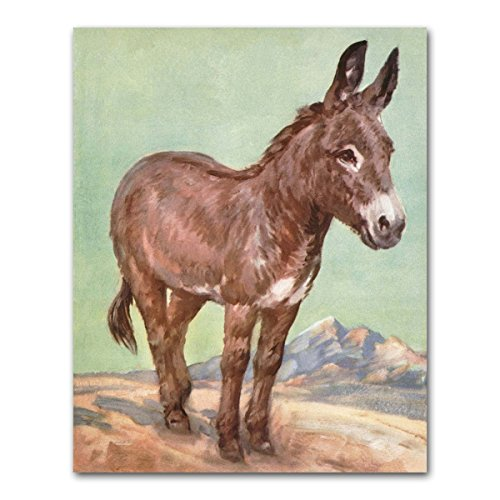 Donkey Art Print (Southwestern Wall Decor, Western Office Artwork, Farm Animal Baby Nursery)