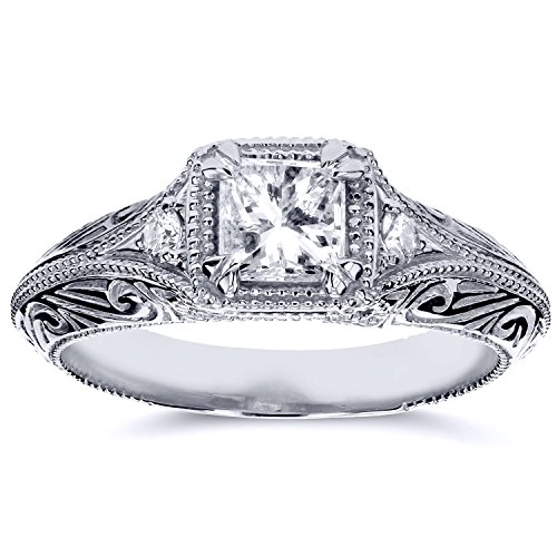 Diamond Antique Filigree Engagement Ring 5/8 CTW in 14k White Gold