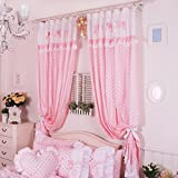 FADFAY Home Textile,Cute Pink Polka Dot Living Room Curtains,Delicate Fairy Kids Curtains,Luxury Curtains For Living Room,2Panels