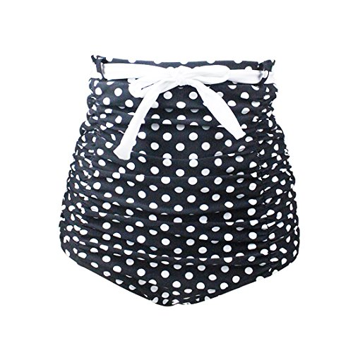 Gigileer Women's Retro High Waisted Bikini Bottom Ruched Swim Trunks with Polka Dots (S(2-4)) 3 Piece Polka Dots Bikini