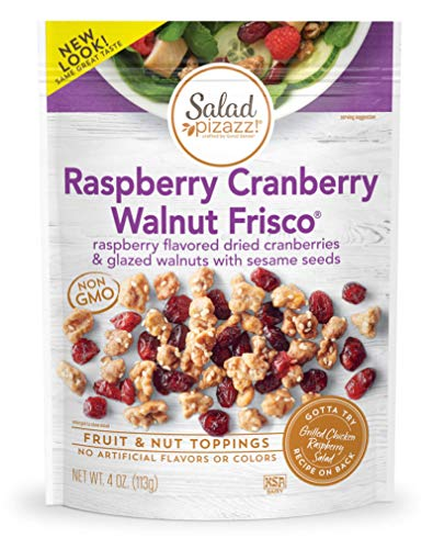 Salad Pizazz! Dried Raspberry Flavored Cranberries & Glazed Walnuts Salad Topper, 4OZ (4 Ounce) Resealable Bags (6-pack)