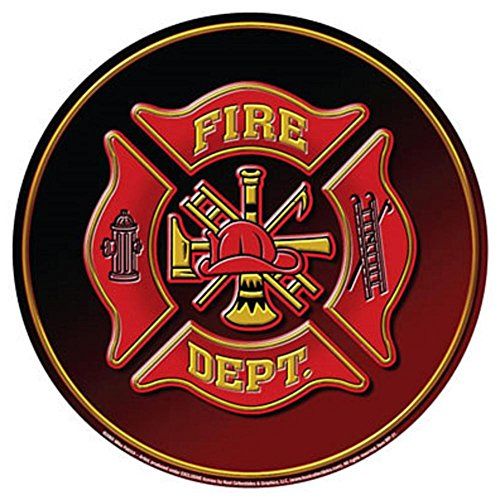 Fire Department Dept Fireman Hat Emblem Round Tin Sign 12 x 12in - Fire Dept Tin Sign
