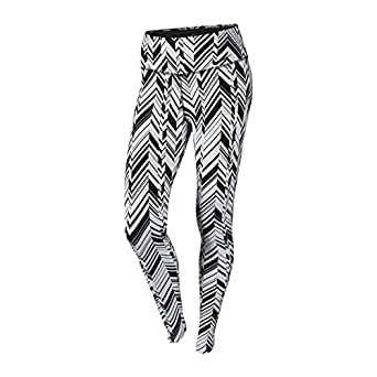 Nike Legendary Dri-Fit Freeze Frame Tight Womens Long Training Pants 642524, Small, White/Black