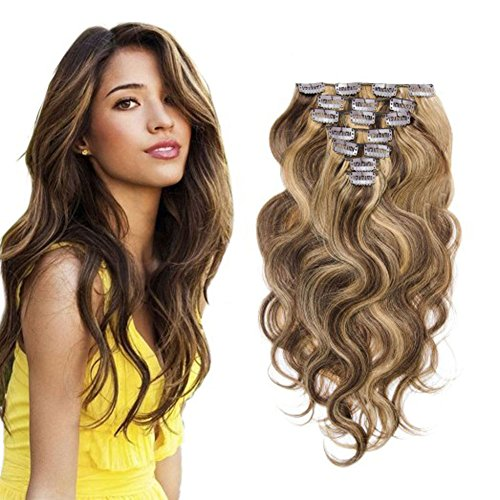 an Hair Clip in Extensions for Women #4/27 Body Wavy 7Pieces 70grams/2.45oz (Remi Clip Hair Extensions)