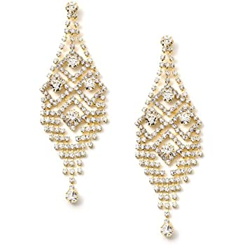 Gold Crystal Rhinestone Art Deco Dangle Earrings