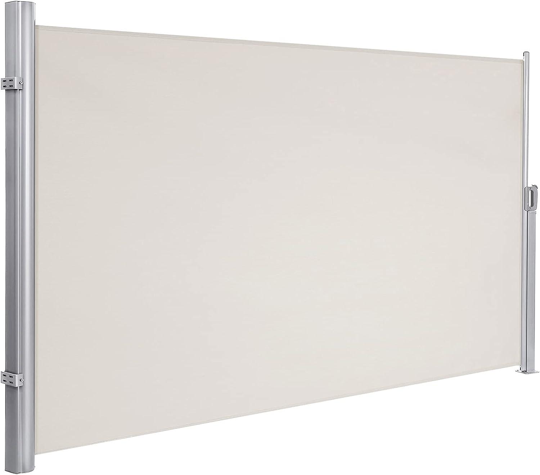 Polyester Anti-UV Haute densit/é 180 g//m/² Gris Outsunny Store lat/éral Brise-Vue paravent r/étractable dim 3L x 1,8H m alu
