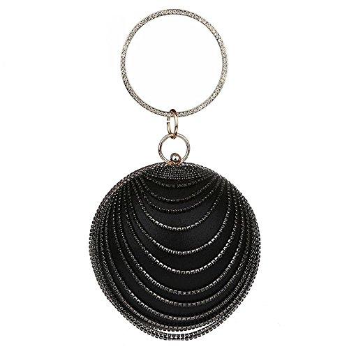 NVBAO Bolso de tarde de los cristales de las señoras Bolso de embrague de la forma de la bola banquete de boda del Rhinestones de la forma, 25 X 13cm, color silver black