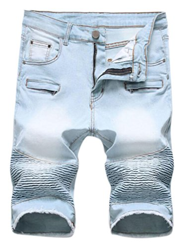 FREDD MARSHALL Men's Fashion Washed Moto Biker Ripped Cropped Zipper Jean Shorts Light Blue