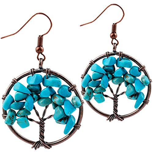 - SUNYIK Blue Howlite Turquoise Tree of Life Dangle Earrings for Women(Copper Plated)