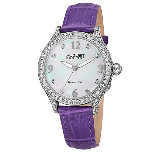 - August Steiner Women's AS8188PU Silver Crystal Accented Quartz Watch with White Mother of Pearl Dial and Purple Embossed Leather Bracelet