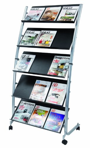 Alba Large Mobile Literature Display, 5 Levels, Metallic Gray and Black (DD5GM) by Alba