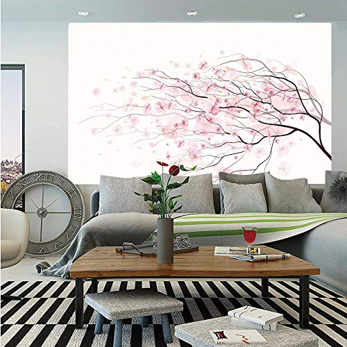 Light Pink Huge Photo Wall Mural,Artistic Sakura Branch with Cherry Flowers Tender Japanese Spring Decorative,Self-Adhesive Large Wallpaper for Home Decor 100x144 inches,Light Pink Black - Flowers Pink Medium Elite