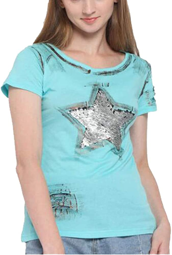 KUBAO Women New Short Sleeve Summer Large Five-Pointed Star Super Flash Holes t Shirt