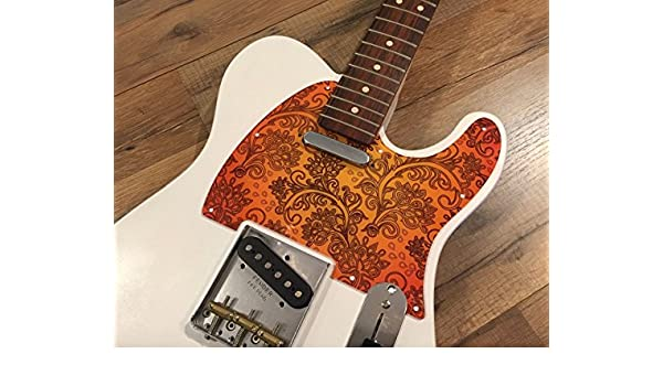 Guitarra partes personalizados Floral Paisley naranja Golpeador ...