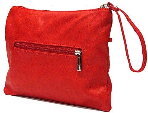 Floto Unisex Custom Initials Personalization Clutch Crossbody Bag in Red Italian Nappa Leather