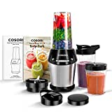 COSORI Blender for Shakes and Smoothies, 10-Piece 800W Auto-Blend High Speed Smoothie Blender/Mixer for Ice Crushing Frozen Fruits, 2x24oz Cups, 1x12oz Cup, 2-Year Warranty, ETL Listed/FDA Compliant