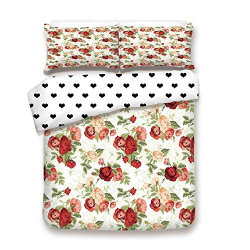 Kimeway Duplex Print Duvet Cover Set Full Size/Roses Bouquet Romance Holiday Love Anniversary Luxury Ornament Decorating/Decorative 3 Piece Bedding Set with 2 Pillow Sham,Best Gift for Your Beloved