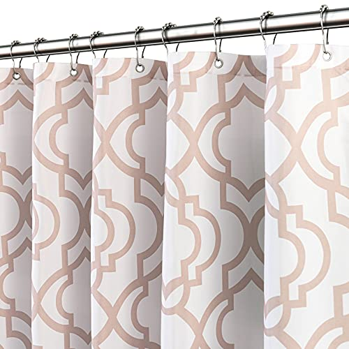 Reepow Fabric Shower Curtain with 12 Stainless Steel Rings & Hooks for Bathroom Bathtub, Moroccan Pattern Shower Stall Curtain with Weighted Bottom Hem, 72