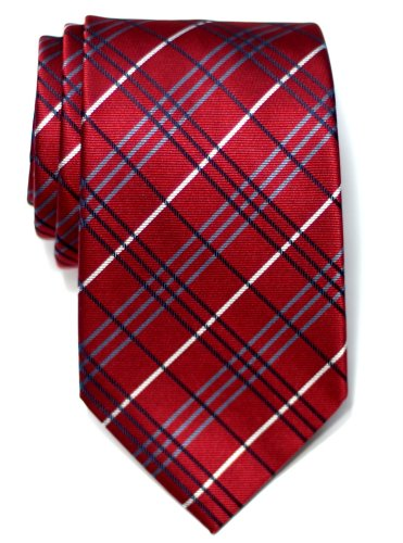Retreez Tartan Check Styles Woven Microfiber Men's Tie Necktie - Burgundy (Polyester Red Tie Plaid)