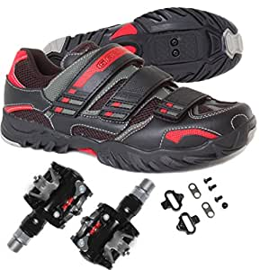 MTB Mountain / Spin Cycling Bike Shoe Shimano SPD with Pedals and Cleats 46 EU Black/Red