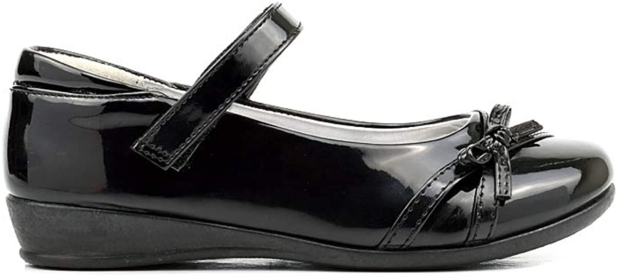 Girls Patent School Shoes Girls School Shoes with Easy Touch Fastening and Bow Detail