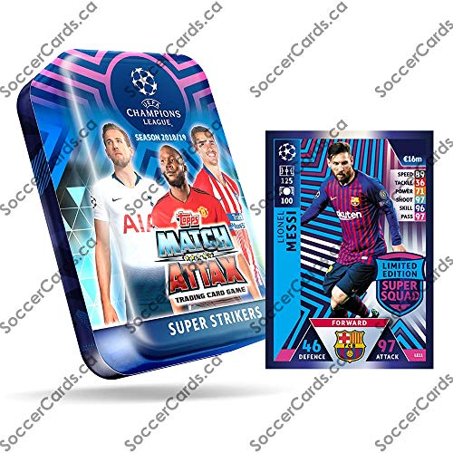 - CHAMPIONS LEAGUE 2018-19 Topps Match Attax Cards - Super Strikers Mega Tin (60 Cards, 15 Exclusive Cards + LE Gold Messi Card)