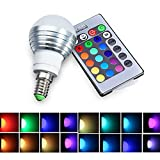 LifeBee Colour Changing E14 LED Light Bulbs, 5W RGB Dimmable 16 Colour Choices, Mood Lighting, Small Edison Screw for Home Decoration Bar Party KTV Stage Effect Lights Bulbs - Lifetime Warranty
