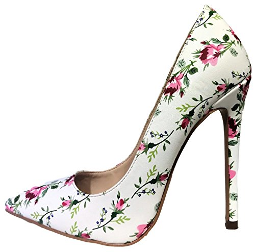 Shoe Republic Irma Pointed Pointy Toe Slip On Stiletto High Heel Floral Pumps White (Floral High Heel Pump)