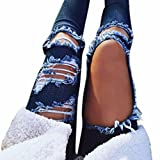 Ankola Women's Ripped Holes Jeans, Mid Waist Destroyed Ripped Hole Stretch Denim Skinny Jeans Distressed Trousers (Blue, M)