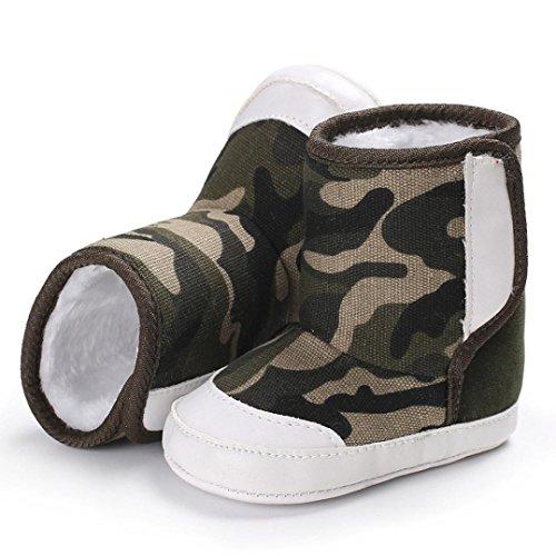 HUHU833 Kinder Mode Baby Stiefel Soft Sole, Schnee Stiefel, Camouflage Stiefel, Soft Crib Schuhe Kleinkind Stiefel Warm Schuhe Khaki