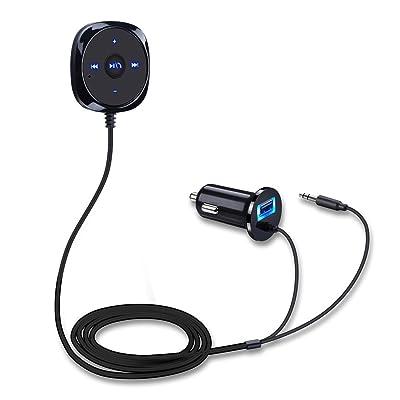 LESHP Receptor Bluetooth, Cargador de Coche Botón de Medios Automáticos**USB + Cable AUX**Control Remoto de Manos Libres Adaptador Inalámbrico Audio Estéreo para Moviles IOS y Android, Tablet etc